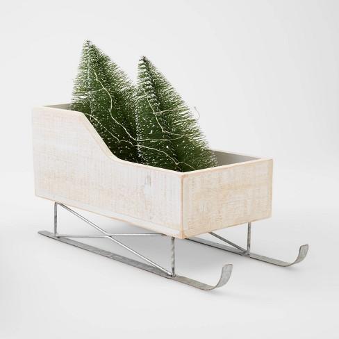 LIT Wood Sleigh with Bottle Brush Trees Decorative Christmas Figurine White - Wondershop™ - image 1 of 2
