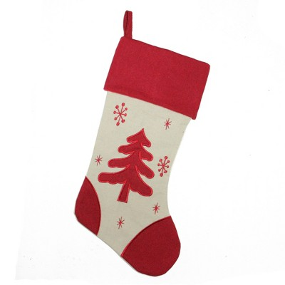 """Northlight 18"""" Red and Ivory Tree with Snowflakes Christmas Stocking"""