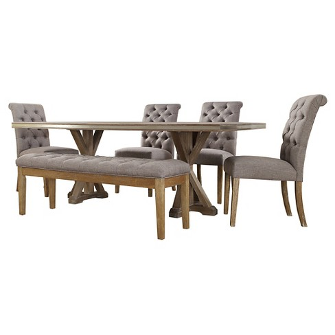 Portland 6-Piece Dining Set - Tufted Gray Linen - image 1 of 7