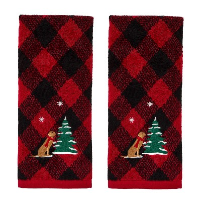 2pk Playful Pup Hand Towel Set Red - SKL Home