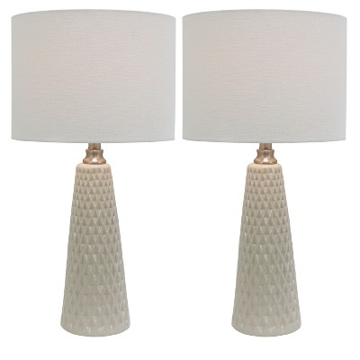 "26"" x 5"" Set of 2 Ceramic Desk Lamps Ivory - Decor Therapy"