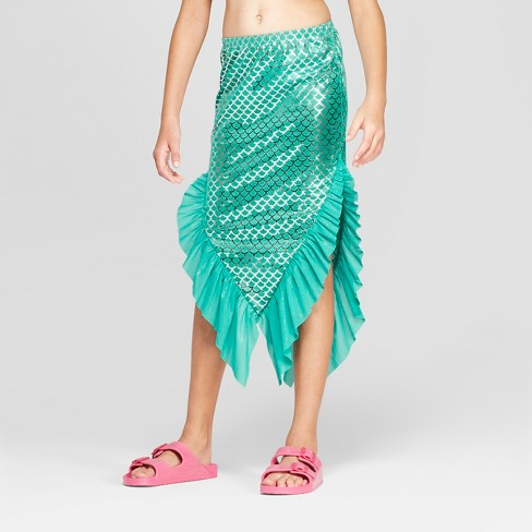 Girls' Mermaid Swim Skirt - Cat & Jack™ Turquoise - image 1 of 3