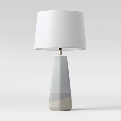 Large Dipped Ceramic Lamp with Linen Shade Blue/White - Threshold™