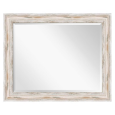 "33""x27"" Alexandria White Wash Framed Wall Mirror - Amanti Art"