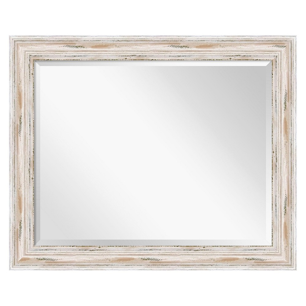 Image of Rectangle Alexandria Decorative Wall Mirror Whitewash - Amanti Art, Mother Of Pearl