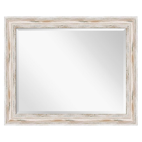 "33""x27"" Alexandria White Wash Framed Wall Mirror - Amanti Art - image 1 of 4"