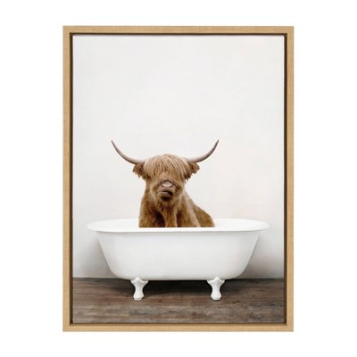 """18"""" x 24"""" Sylvie Highland Cow in Tub Color Framed Canvas Wall Art by Amy Peterson Natural - Kate and Laurel"""