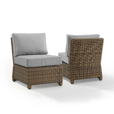 Bradenton 2pk Outdoor Wicker Chairs - Weathered Brown/Gray - Crosley