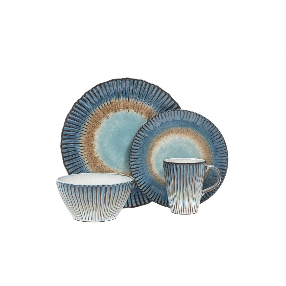 Image of 16pc Stoneware Portura Dinnerware Set Blue/Brown - Sango