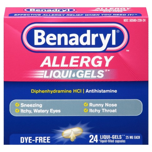 Benadryl Dye-Free Allergy Relief Gelcaps - Diphenhydramine - 24ct - image 1 of 4