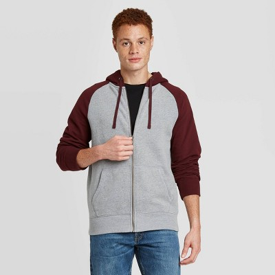 Men's Regular Fit Full Zip Fleece Hoodie - Goodfellow & Co™ Gray / Maroon