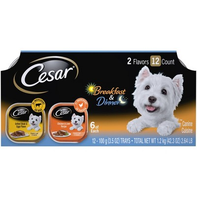 Cesar Classic Loaf in Sauce Wet Dog Food Breakfast & Dinner - 3.5oz/12ct Variety Pack