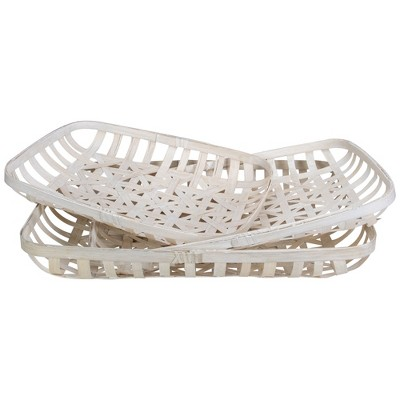 Northlight Set of 3 White Rectangular Lattice Tobacco Table Top Baskets