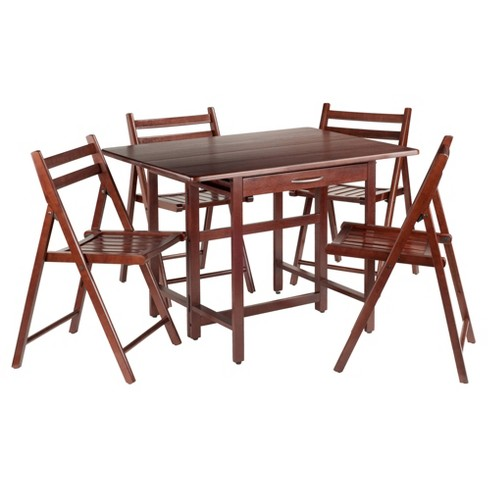 Taylor 5 Piece Set Drop Leaf Table With Folding Chairs Walnut Winsome Target