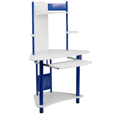Corner Computer Desk With Hutch Blue   Flash Furniture