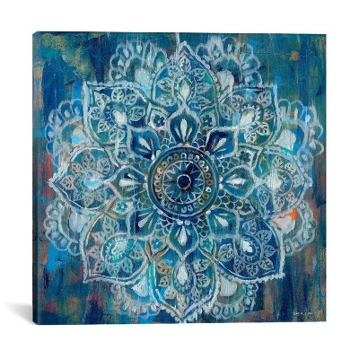 "18"" x 18"" Mandala by Danhui Nai Unframed Wall Canvas Print Blue - iCanvas"
