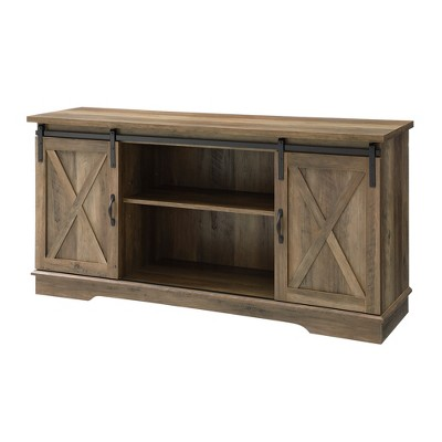"58"" Modern Farmhouse Wood TV Stand Rustic Oak - Saracina Home"
