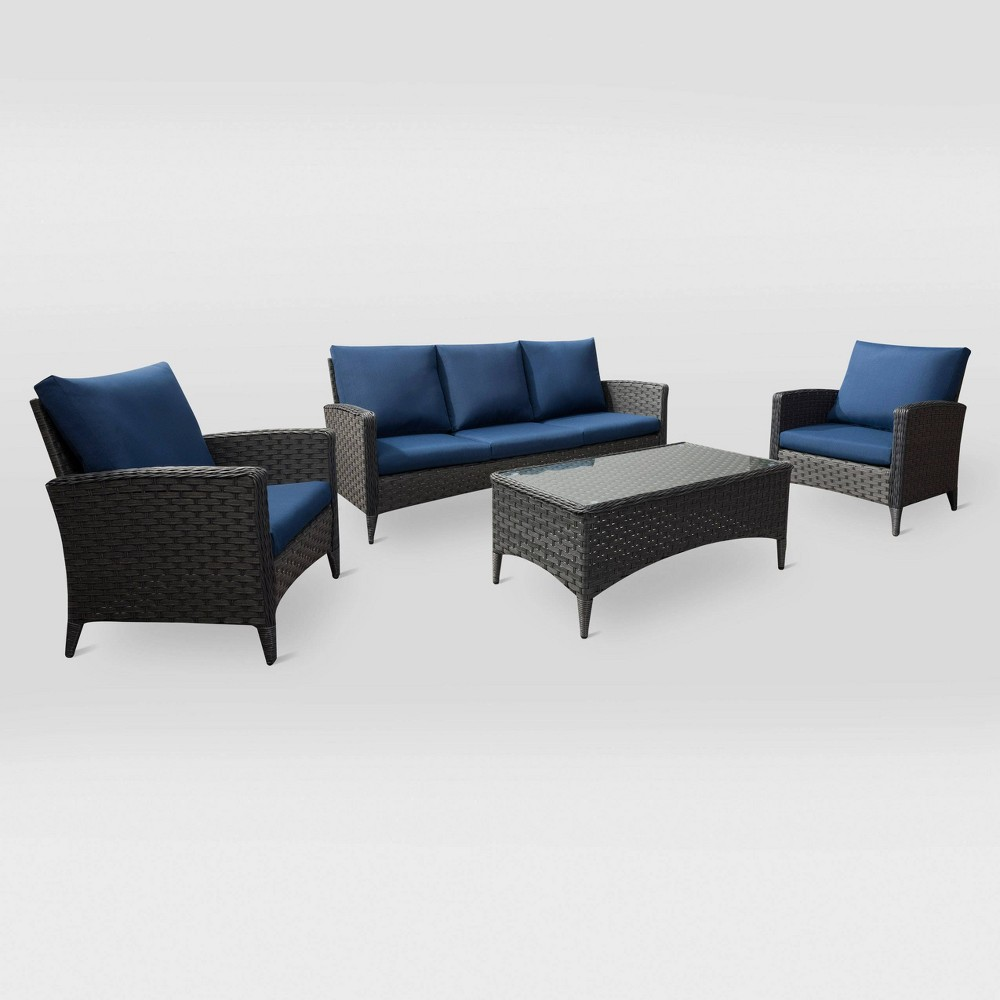 Parkview 4pc Sofa and Chair Patio Set - Navy (Blue) - CorLiving
