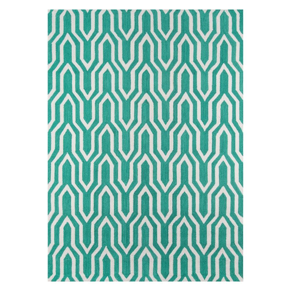 5'X7' Geometric Hooked Area Rug Green - Momeni, Blue