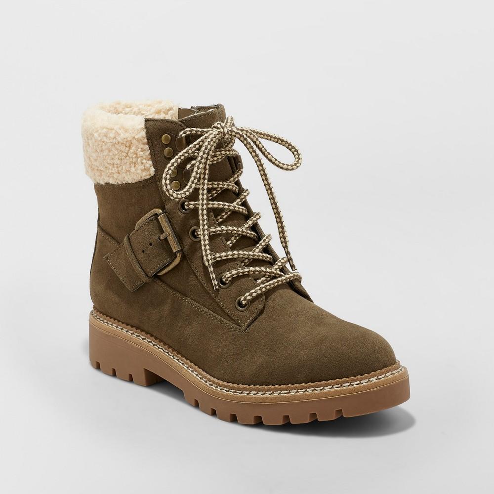 Women's Susan Sherpa Tipped Hiker Boots - Universal Thread Green 8