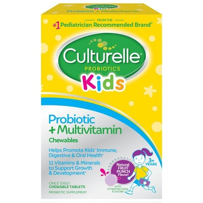 Culturelle Kids Daily Probiotic Plus Multivitamin Vegan Chewable for Oral Health, Digestive and Immune Support - Fruit Punch - 30ct
