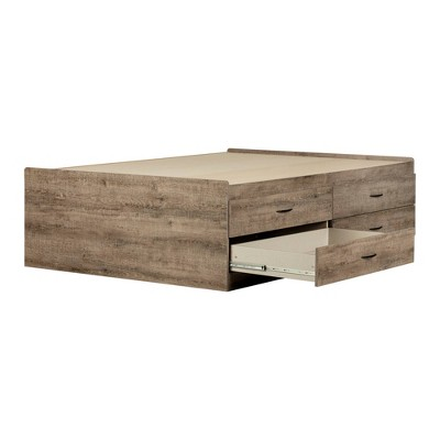 Full Step One Captain Bed with 4 Drawers Oak - South Shore