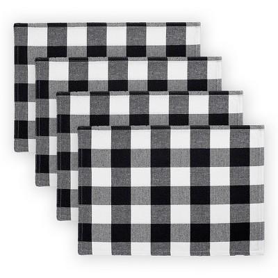 "Farmhouse Living Buffalo Check Placemats, Set of 4 - 13"" x 19"" - Elrene Home Fashions"