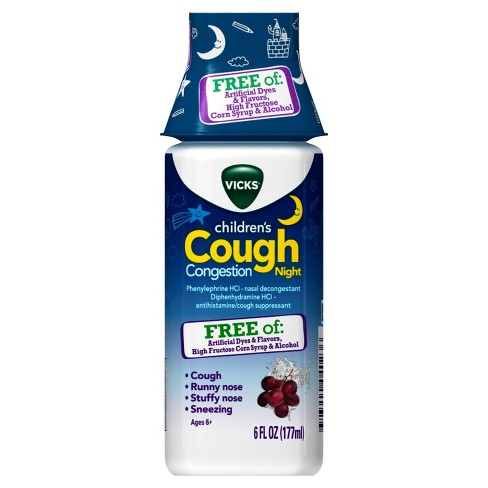 Vicks Children S Cough Congestion Night Relief Liquid Diphenhydramine 6 Fl Oz