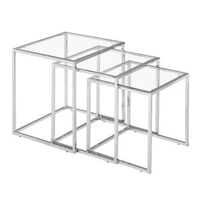 Modern Chrome Steel Tube and Tempered Glass Nesting table Set - ZM Home