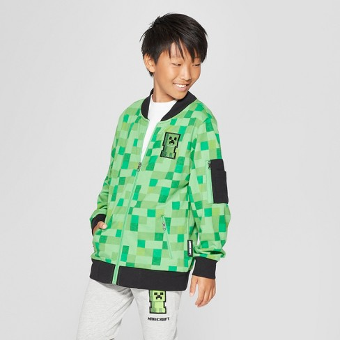 Boys' Minecraft Bomber Jacket - Green/Black - image 1 of 3