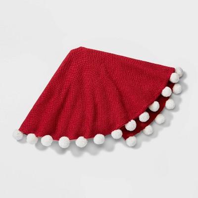 "48"" Pom Pom Christmas Tree Skirt Red - Wondershop™"
