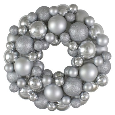 Northlight Silver Splendor 3-Finish Shatterproof Ball Christmas Wreath - 13-Inch, Unlit
