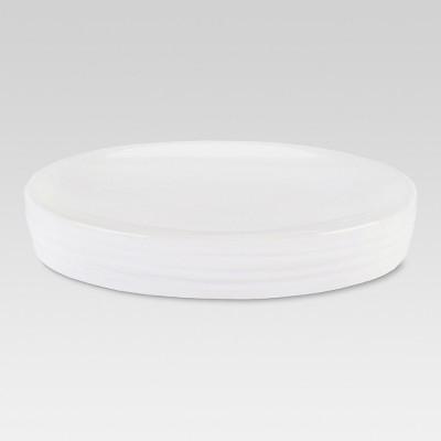 Ribbed Ceramic Soap Dish White - Threshold™