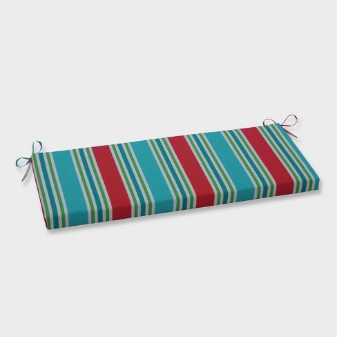 Aruba Stripe Outdoor Bench Cushion Blue - Pillow Perfect - image 1 of 1