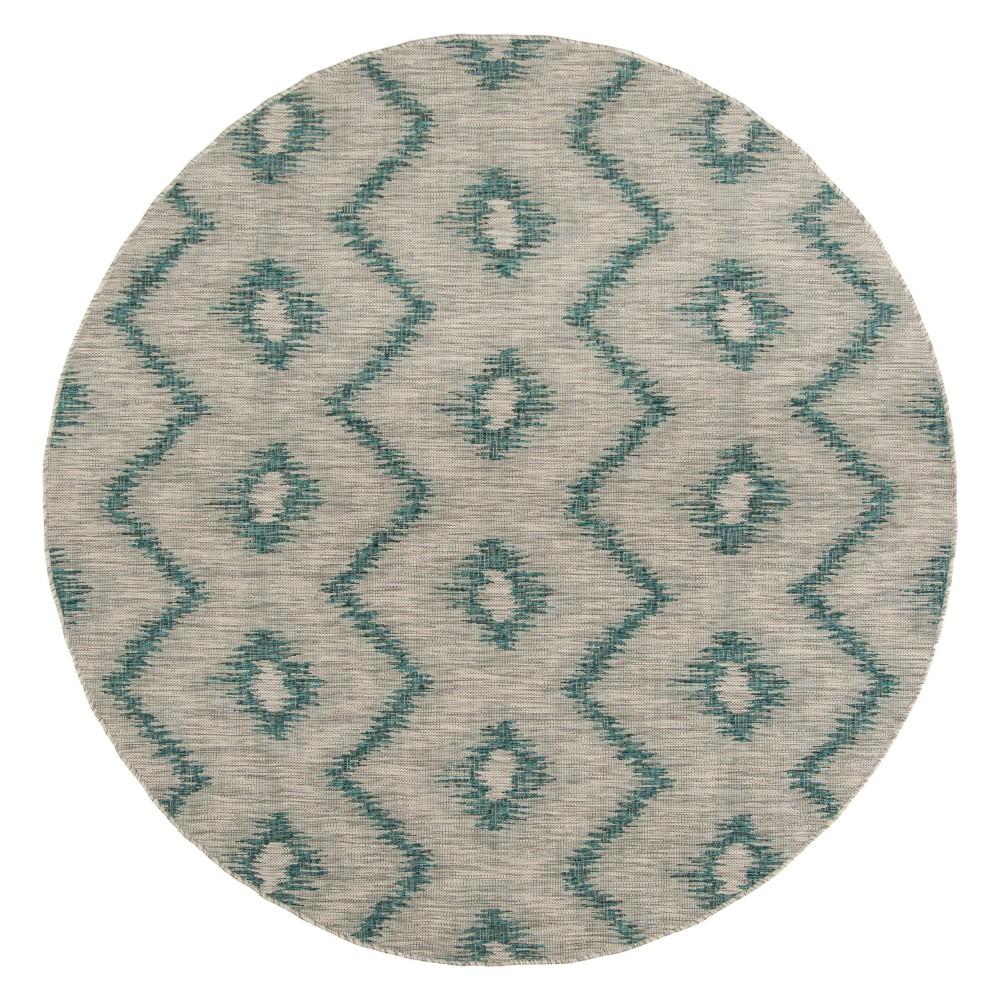 Penhale Round 6'7 Patio Rug - Gray/Blue - Safavieh