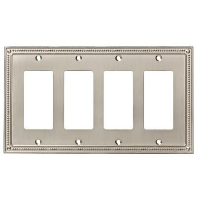 Franklin Brass Classic Beaded Quad Decorator Wall Plate Nickel