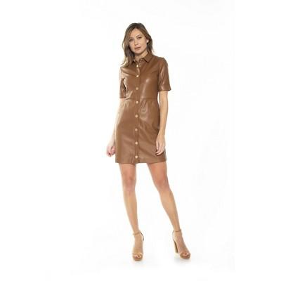 Alexia Admor Janine Faux Leather Short Slv Dress