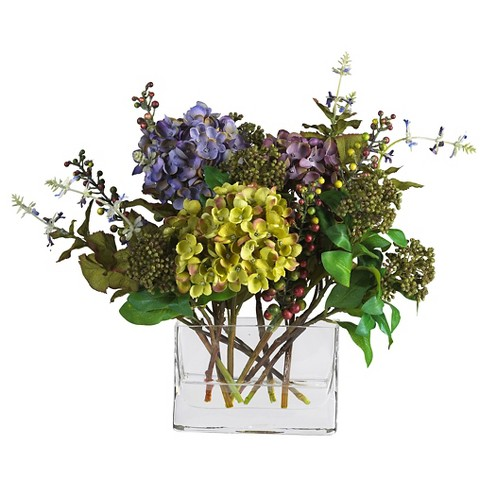 Nearly Natural Mixed Hydrangea With Rectangle Vase Silk Flower