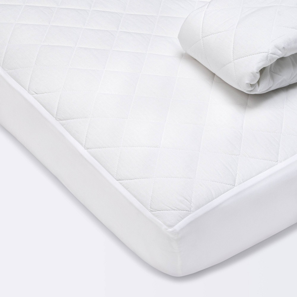 Waterproof Fitted Crib And Toddler Mattress Pad Cover Cloud Island 8482 White 2pk