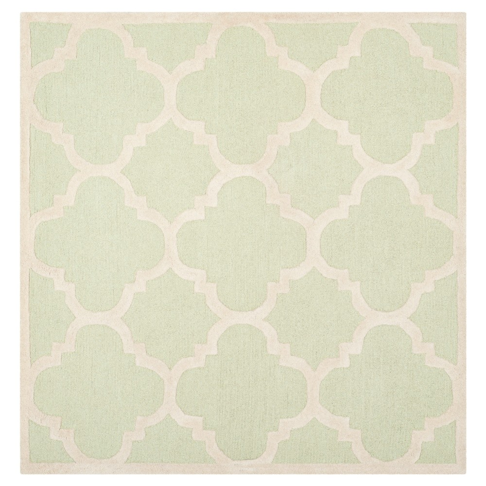 Landon Texture Wool Rug - Light Green / Ivory (8' X 8') - Safavieh, Light Green/Ivory