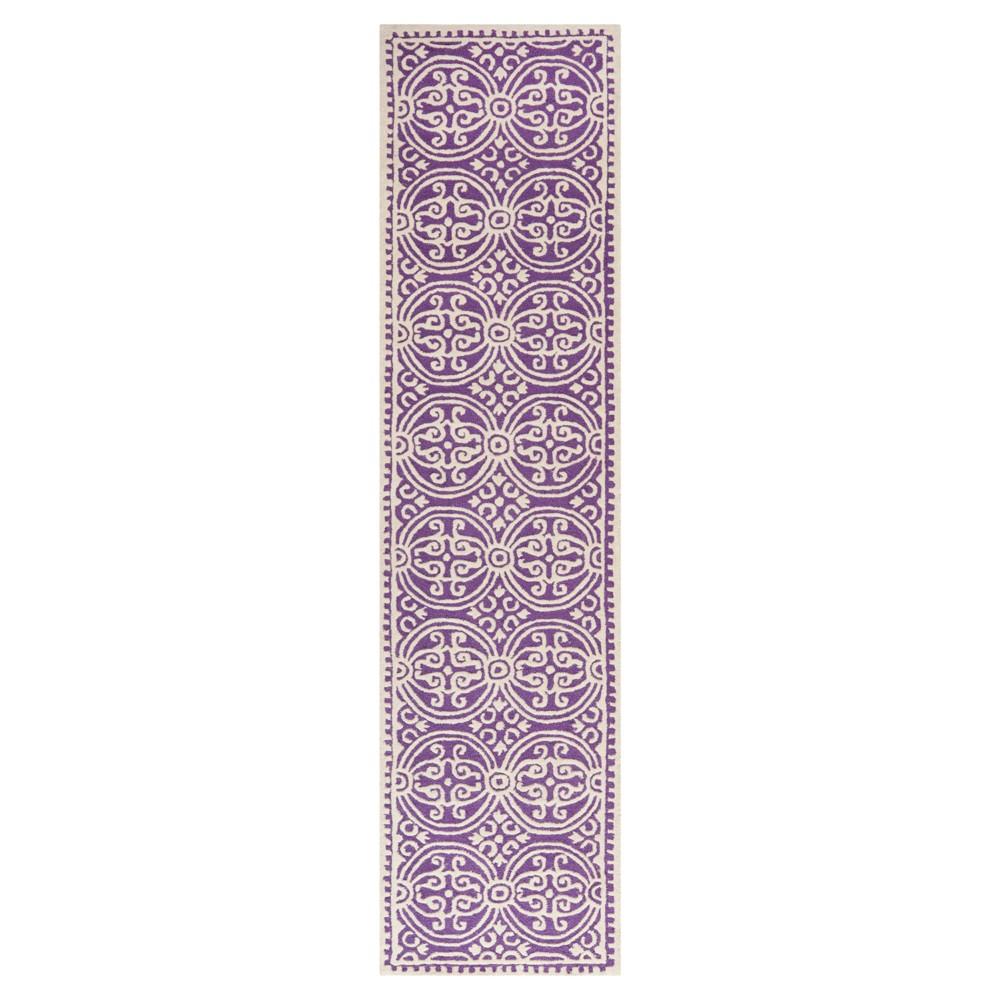Purple/Ivory Geometric Tufted Runner 2'6X10' - Safavieh