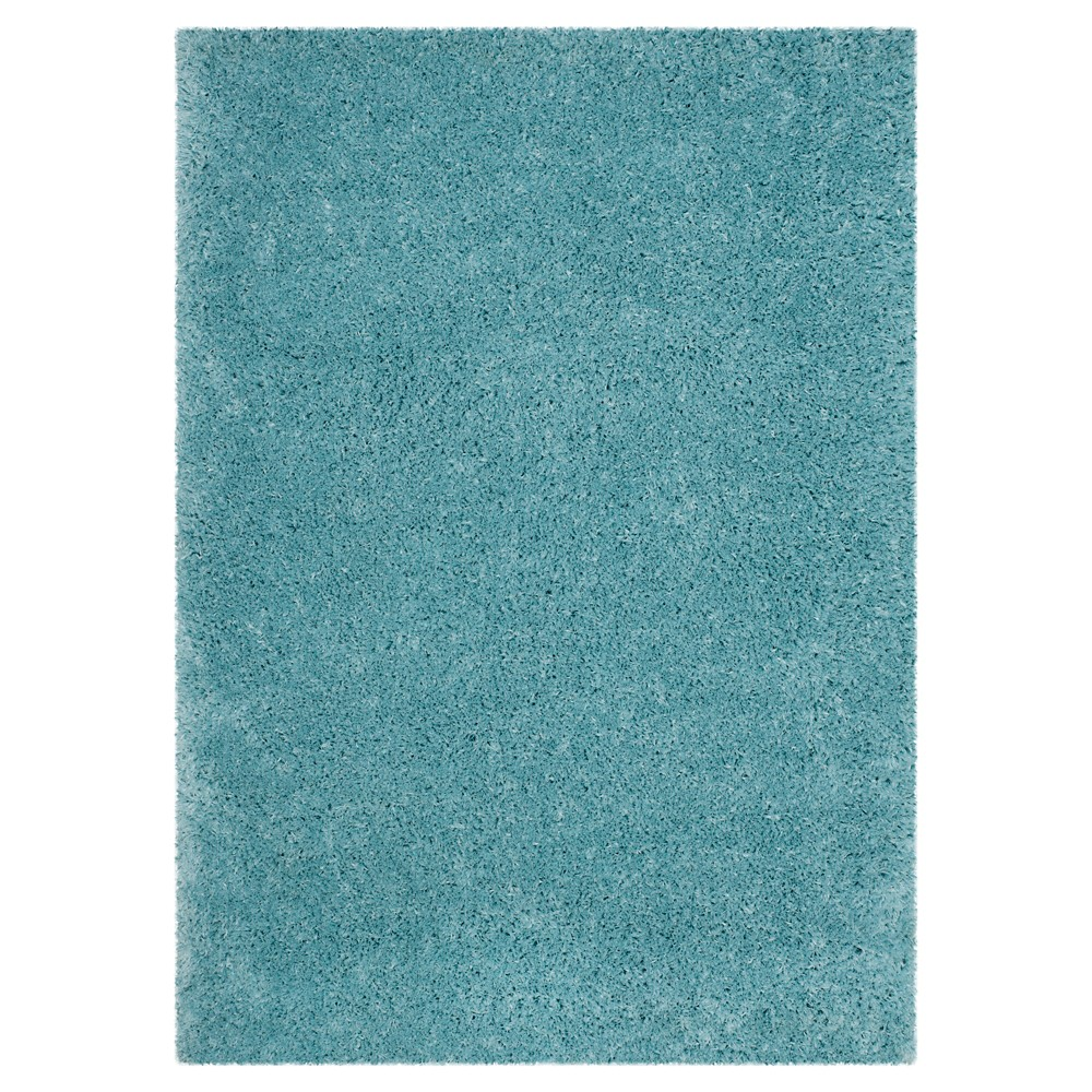 Light Turquoise Solid Loomed Area Rug - (6'7