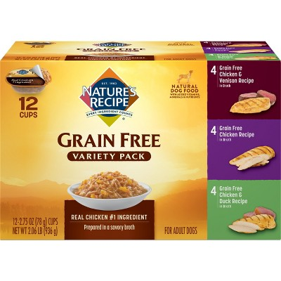 Nature's Recipe Grain Free Chicken, Duck & Venison Wet Dog Food - 2.75oz/12ct Variety Pack