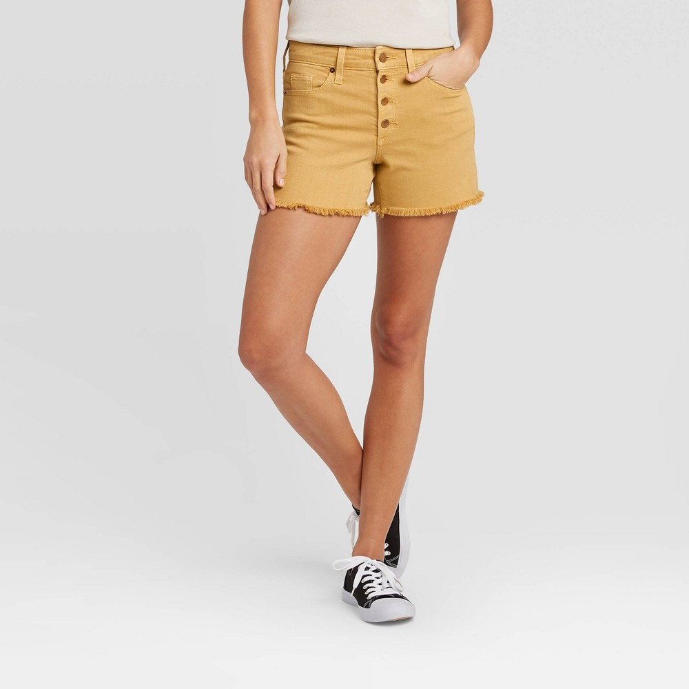 You\\\'ll love bringing some sunny style to your collection of denim with the High-Rise Jean Shorts from Universal Thread?. A golden-yellow color gives these high-rise denim shorts a simply sweet look with a blush of retro-inspired charm. The high-waisted silhouette creates a figure-flattering fit you\\\'ll feel confident in, while a lightweight, breathable fabric keeps you comfy from day to night. Fashioned with raw hems for a touch of edge, you can keep things on the casual side when you pair these yellow jean shorts with a striped T-shirt and platform sneaks, or opt for a chic aesthetic with a tie-front button-down shirt and slide-on mules. Size: 16. Color: bronze. Gender: female. Age Group: adult. Pattern: Solid. Material: Cotton.