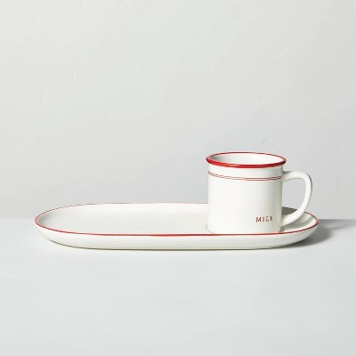 Stoneware Milk & Cookies Plate Set Cream/Red - Hearth & Hand™ with Magnolia