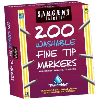 Sargent Art Markers, Fine Tip, Washable, Assorted Colors, set of 200