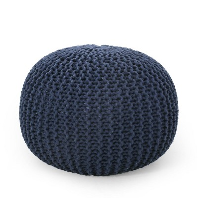 Nahunta Modern Knitted Cotton Round Pouf - Christopher Knight Home