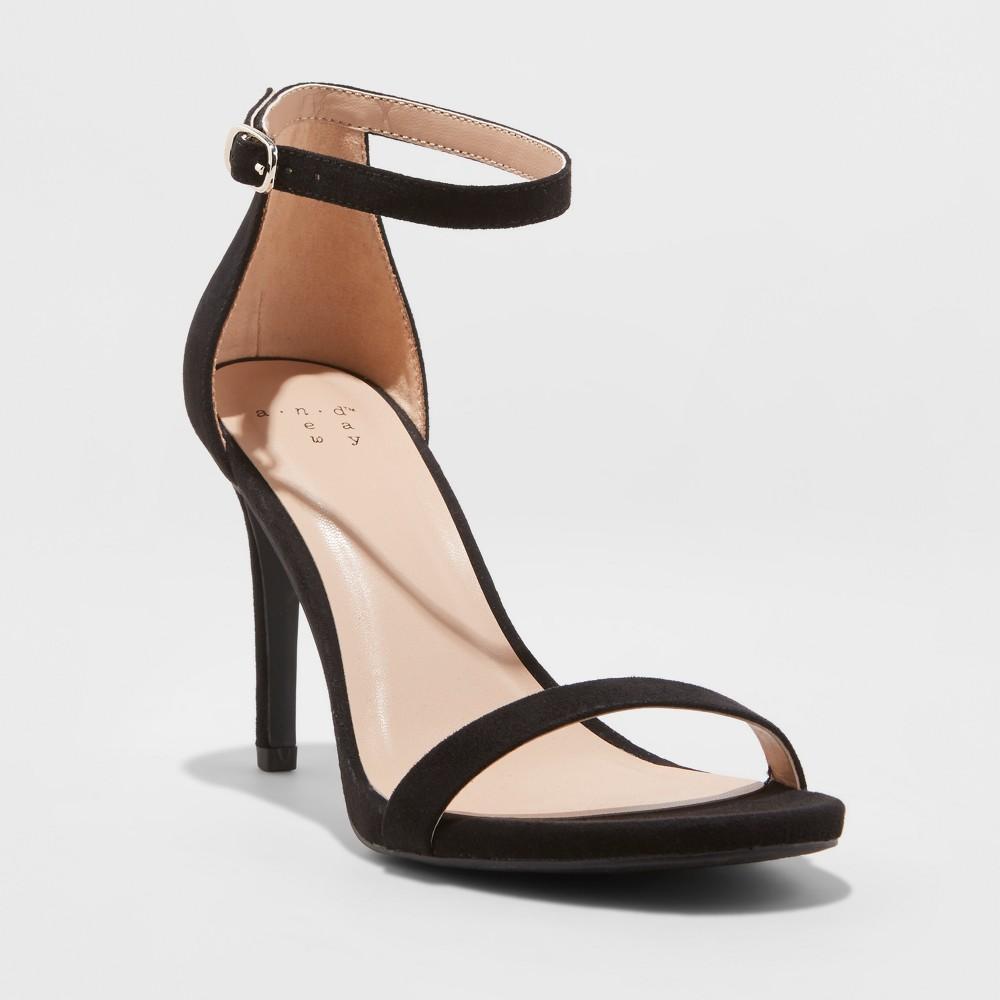 Women's Gillie Microsuede Stiletto Heeled Pump Sandals - A New Day Black 5