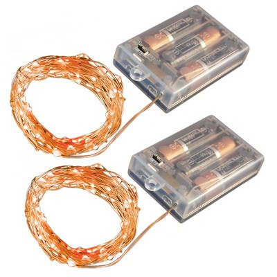 2ct Battery Operated Submersible Mini Fairy String Lights LED With Timer Orange