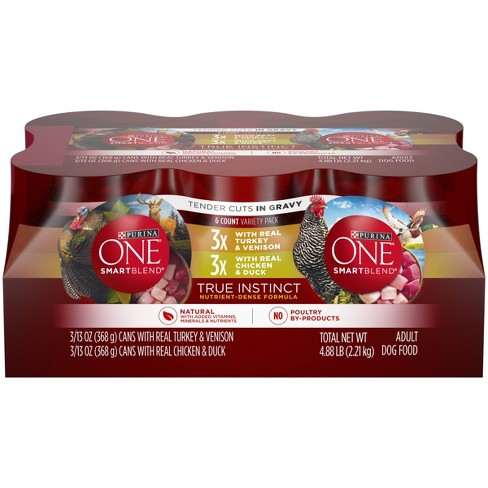 Purina ONE SmartBlend True Instinct Tender Cuts in Gravy Variety Pack Wet Dog Food - 13oz. cans / 6ct - image 1 of 4